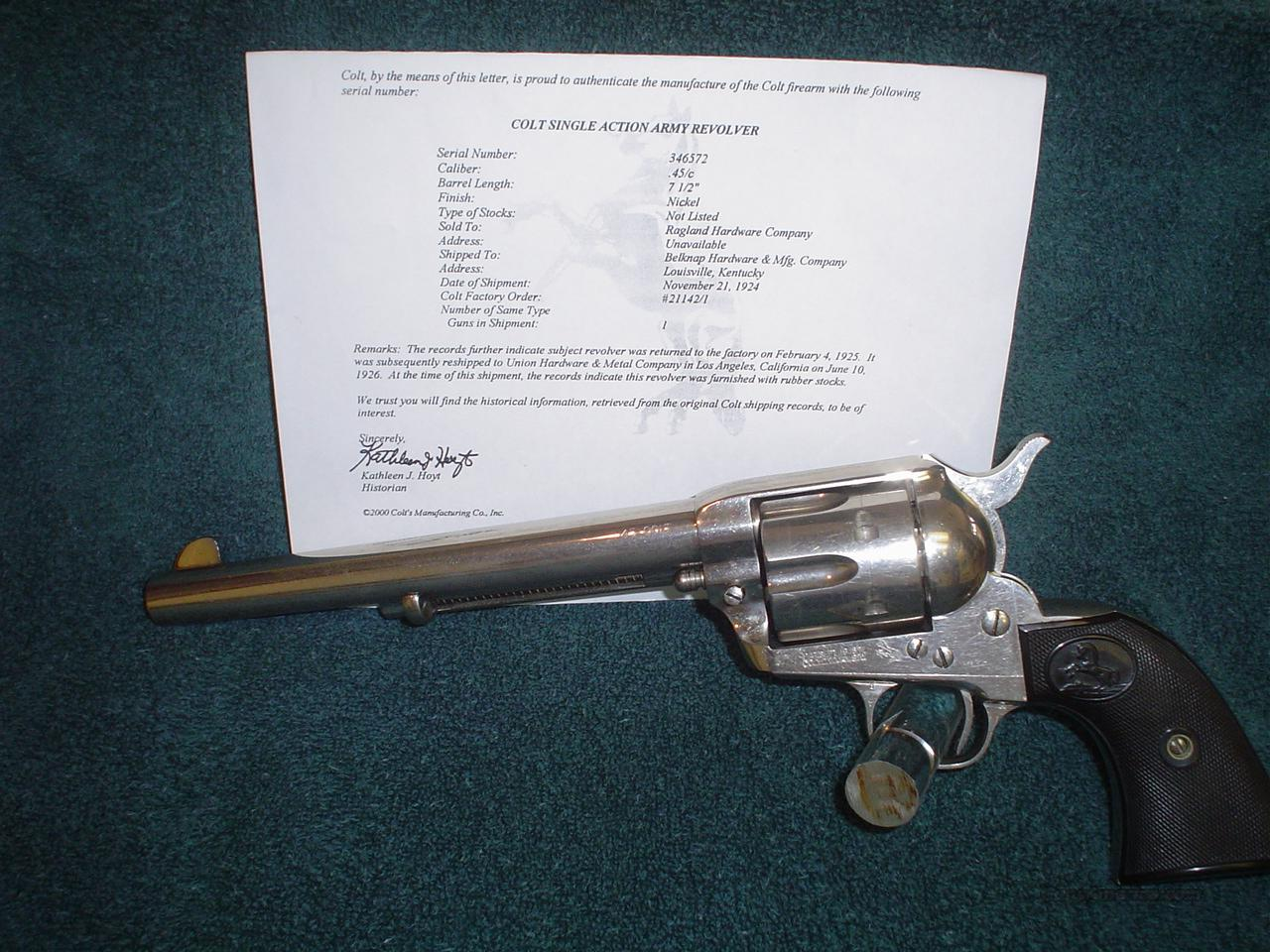 Colt SSA First Generation Nickle  Guns > Pistols > Colt Single Action Revolvers - 1st Gen.