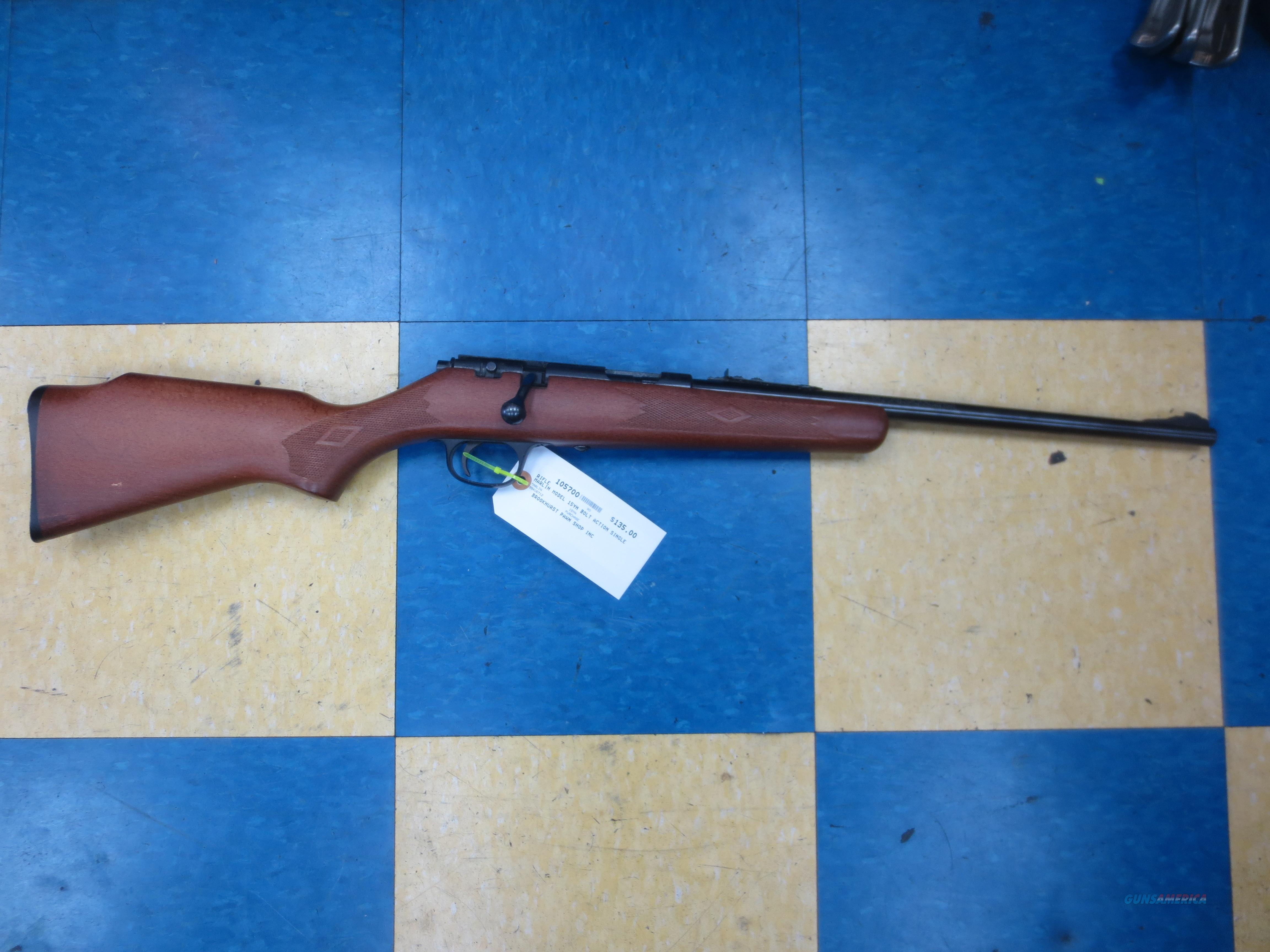 Marlin model 15YN Bolt Action single shot .22 S, L, LR  Guns > Rifles > Marlin Rifles > Modern > Bolt/Pump