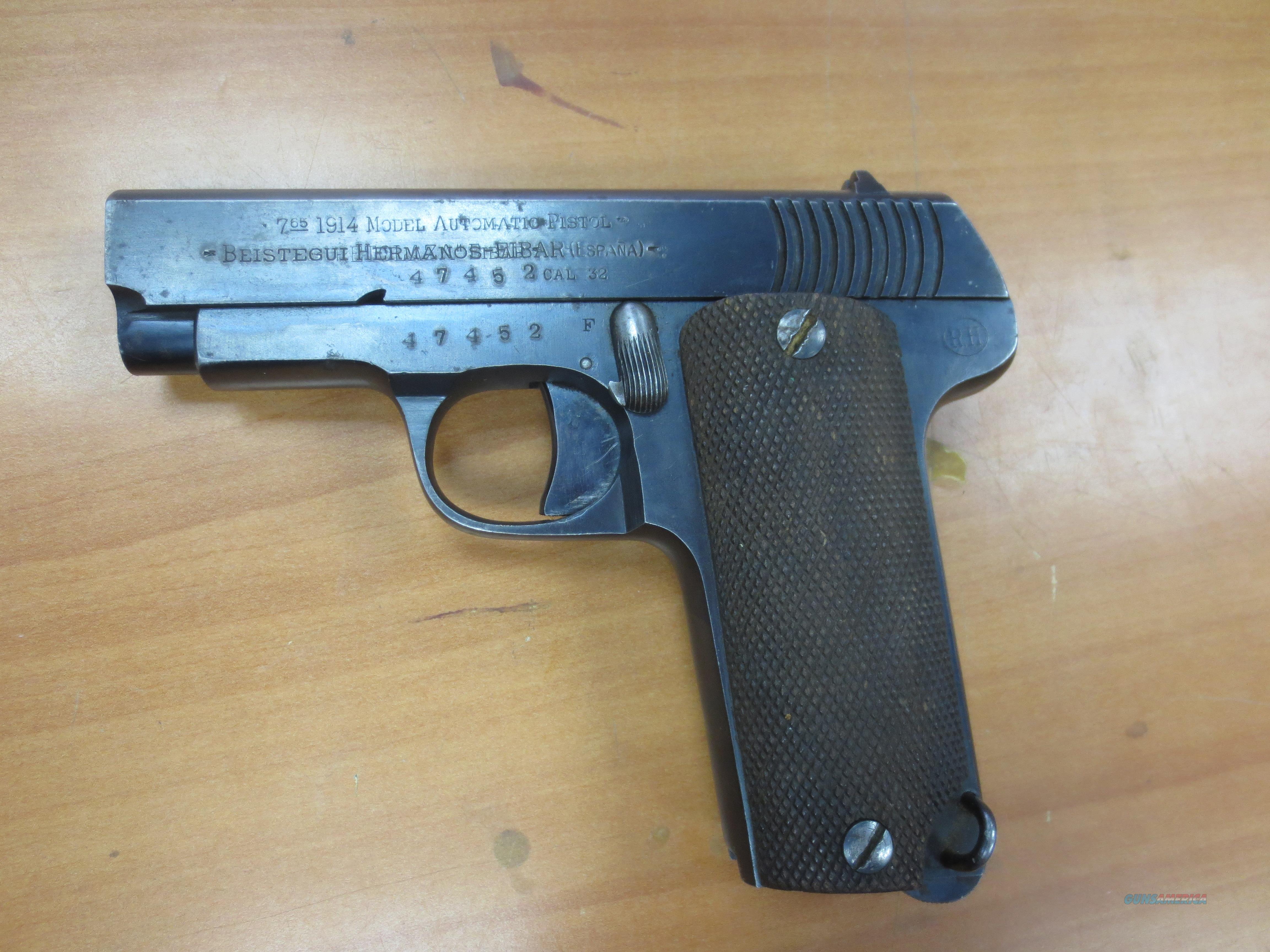 "Eibar ""1914 automatic pistol"" 7.65 cal hammerless 3.25"" barrel  Guns > Pistols > E Misc Pistols"