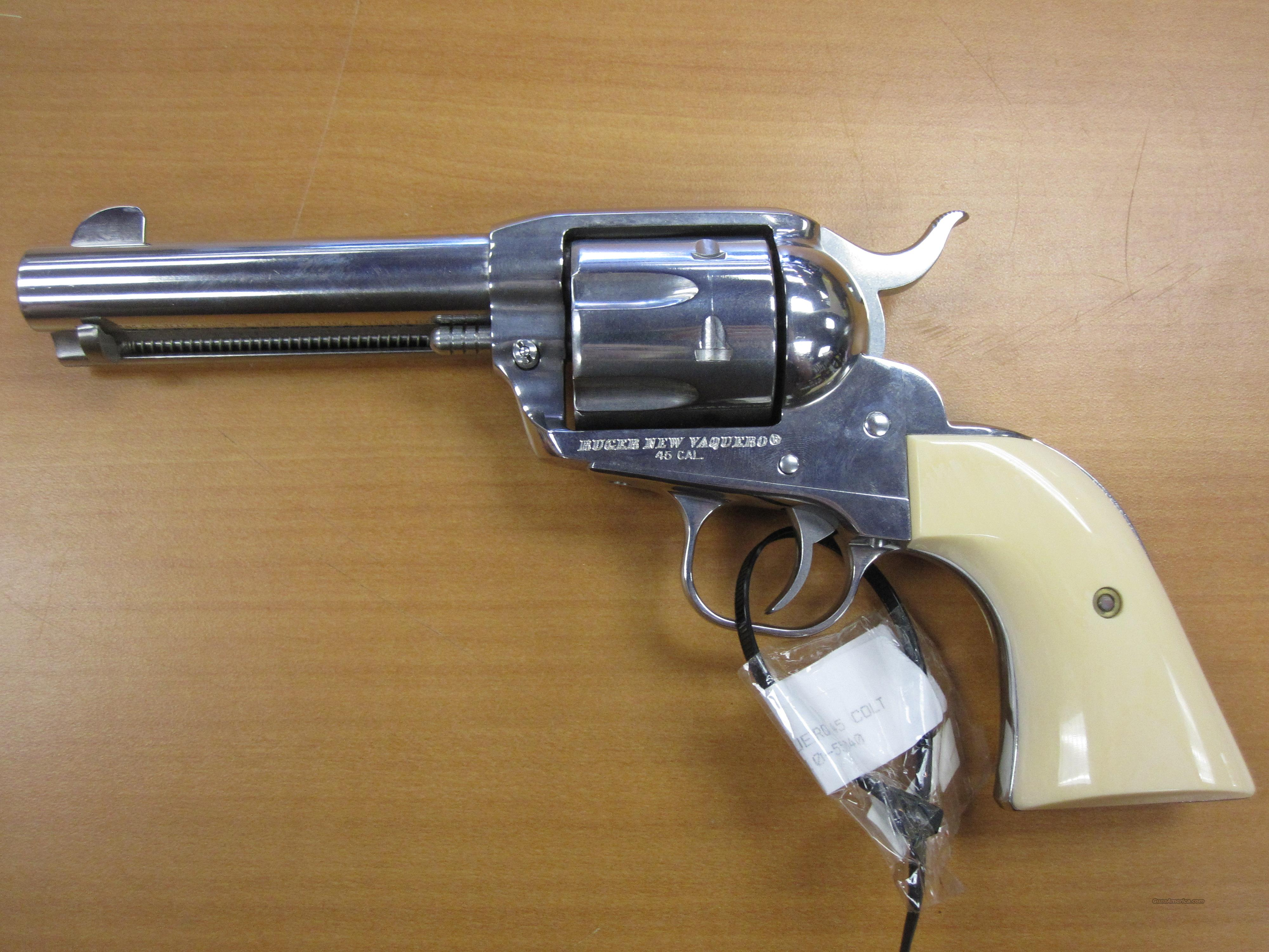 "Ruger mod# New Mod. Vaquero 4.5"" 45 colt cal Hi Polished stainless  Guns > Pistols > Ruger Single Action Revolvers > Cowboy Action"