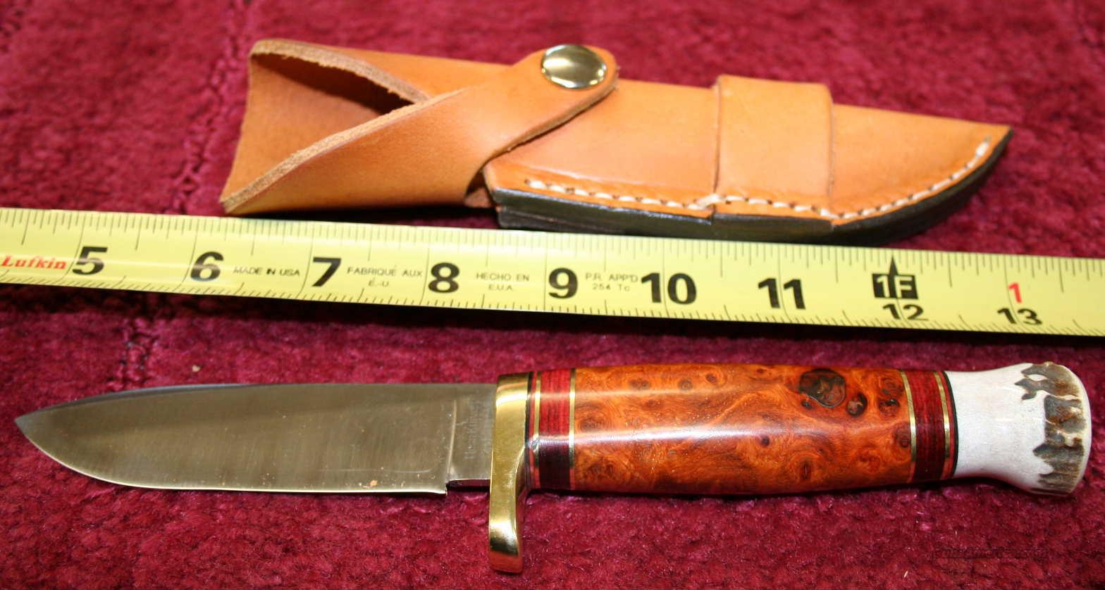 "HESS KNIFE MOD TIBURON  4"" BLADE, AMBOYNA BUREL STAG PAUMEL, FREE POSTAGE  Non-Guns > Knives/Swords > Knives > Fixed Blade > Hand Made"