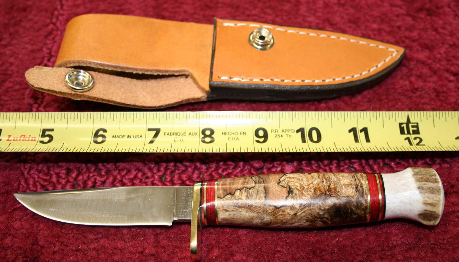 "HESS KNIFE MOD WHITETAIL  3.25"" BLADE, MAPLE BURL WOOD, STAG PAUMEL   Non-Guns > Knives/Swords > Knives > Fixed Blade > Hand Made"