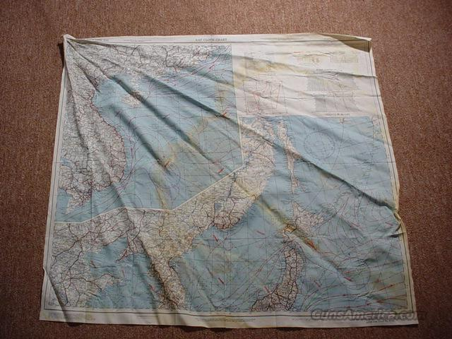 WW II Army Air Force Cloth Chart / Map - China & Sea   Non-Guns > Curios