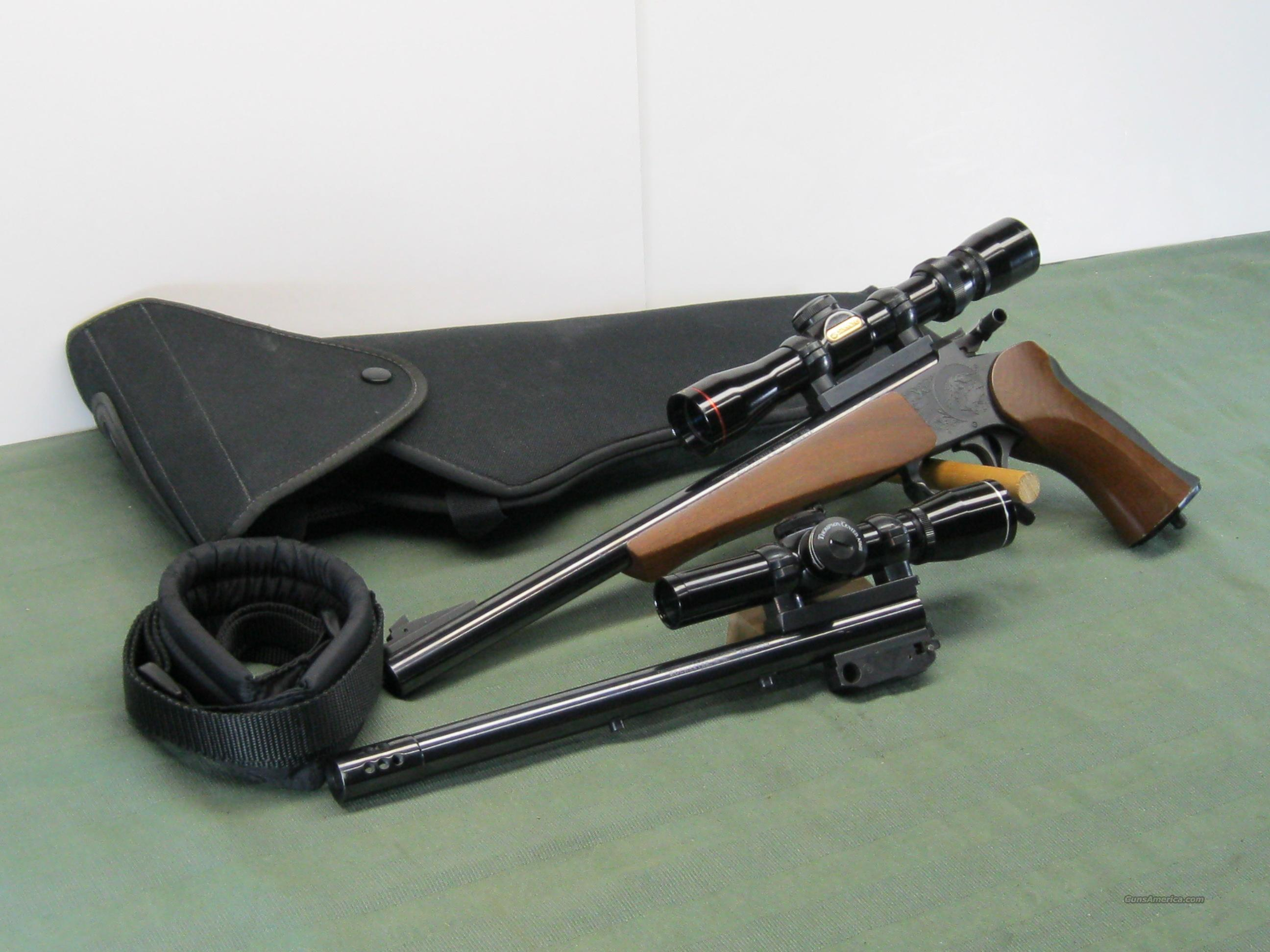 Thompson /Contender 2 barrels/2 scopes  Guns > Pistols > Thompson Center Pistols > Contender