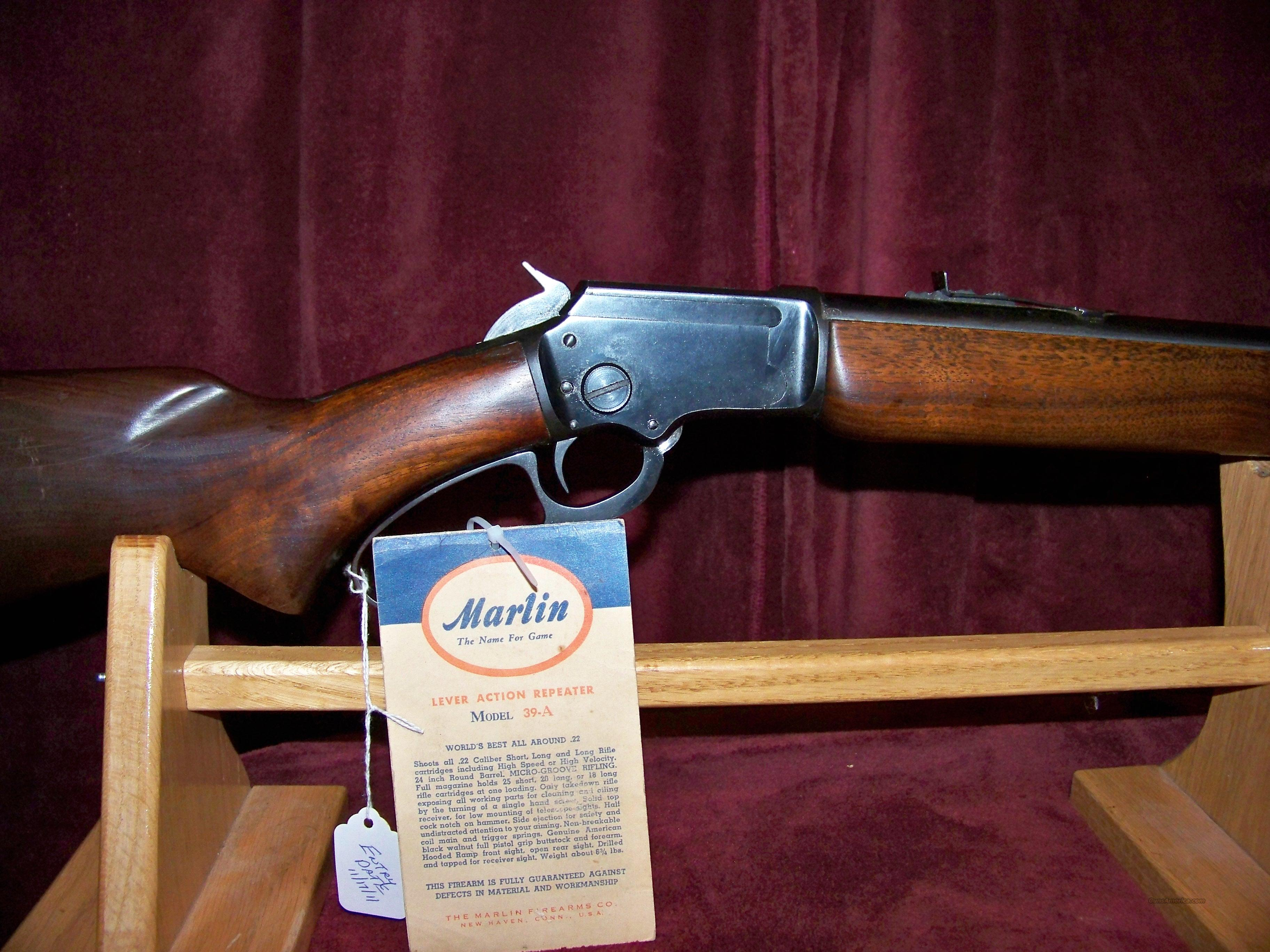 MARLIN MODEL 39A 1956 PRODUCTION (((N))) CODE  Guns > Rifles > Marlin Rifles > Modern > Lever Action