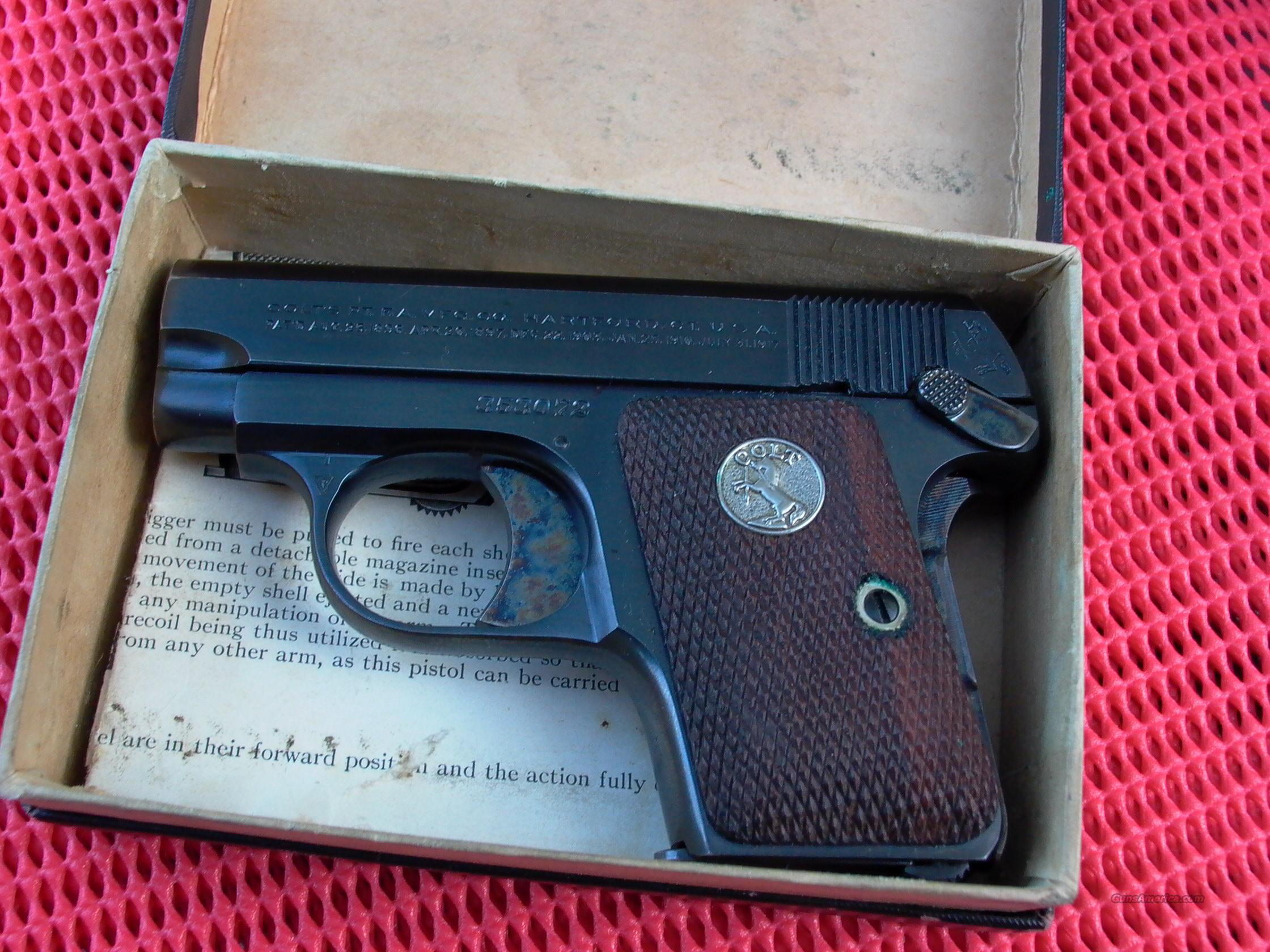 COLT 1908 25 ACP UNFIRED IN BOX MADE 1926  Guns > Pistols > Colt Automatic Pistols (.25, .32, & .380 cal)