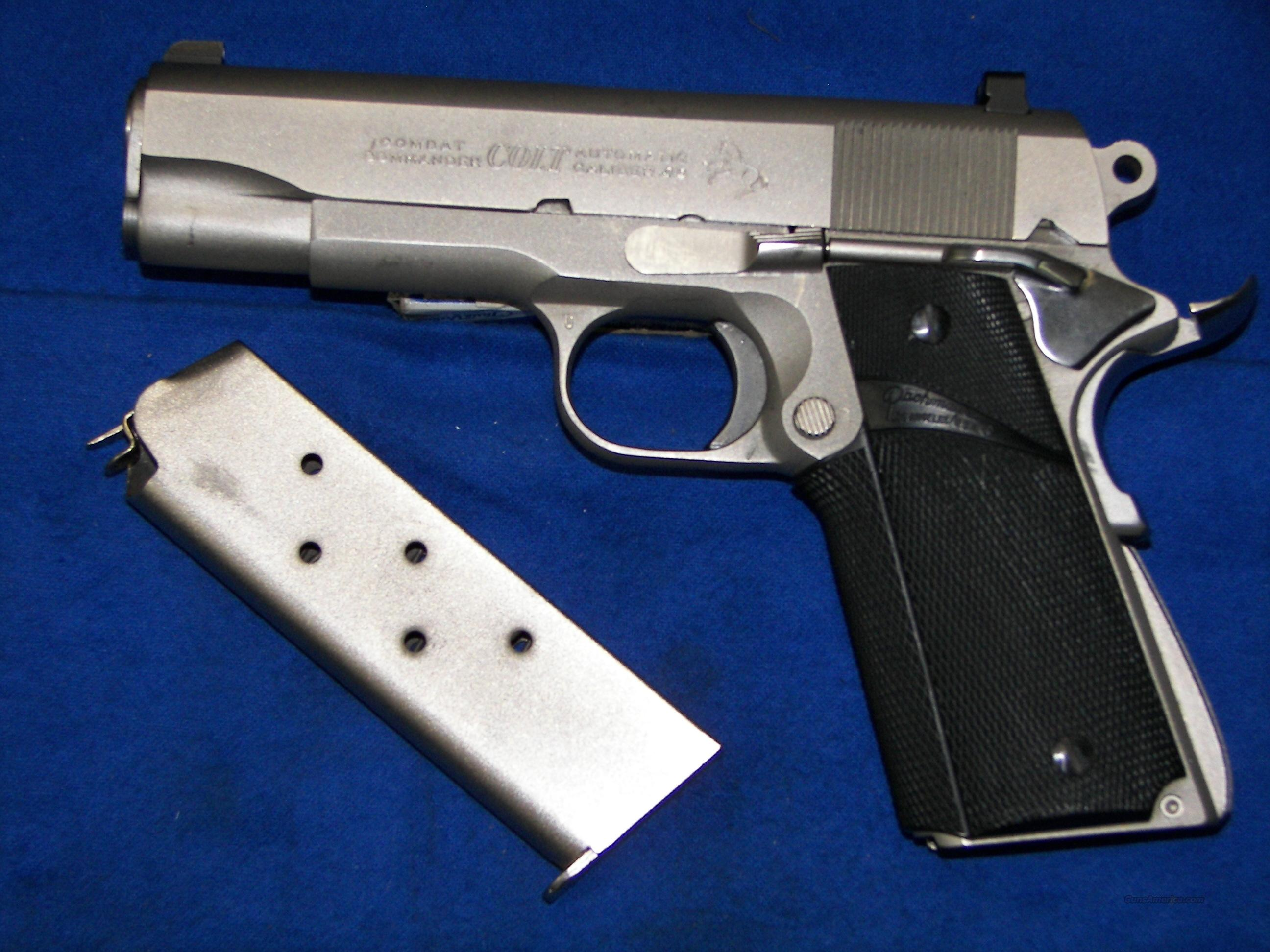 COLT COMBAT COMMANDER .45 ACP SATIN NICKEL SERIES 70   Guns > Pistols > Colt Automatic Pistols (1911 & Var)