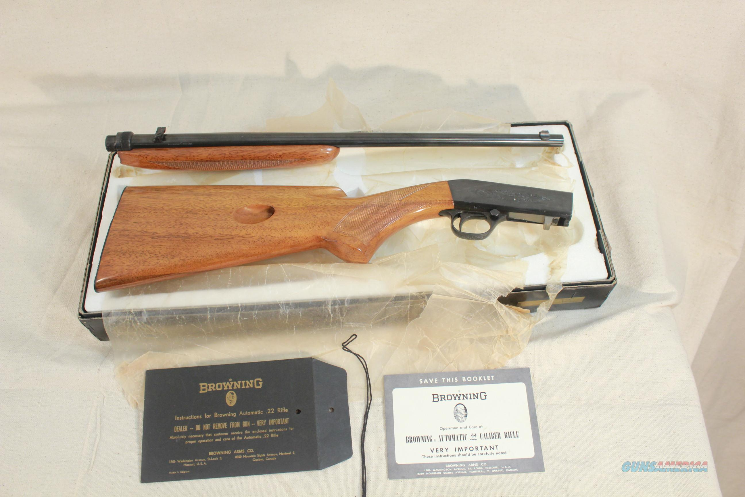 Browning Automatic Takedown .22lr, Mfg. in Belgium in 1965, New and Unfired  Guns > Rifles > Browning Rifles > Semi Auto > Hunting
