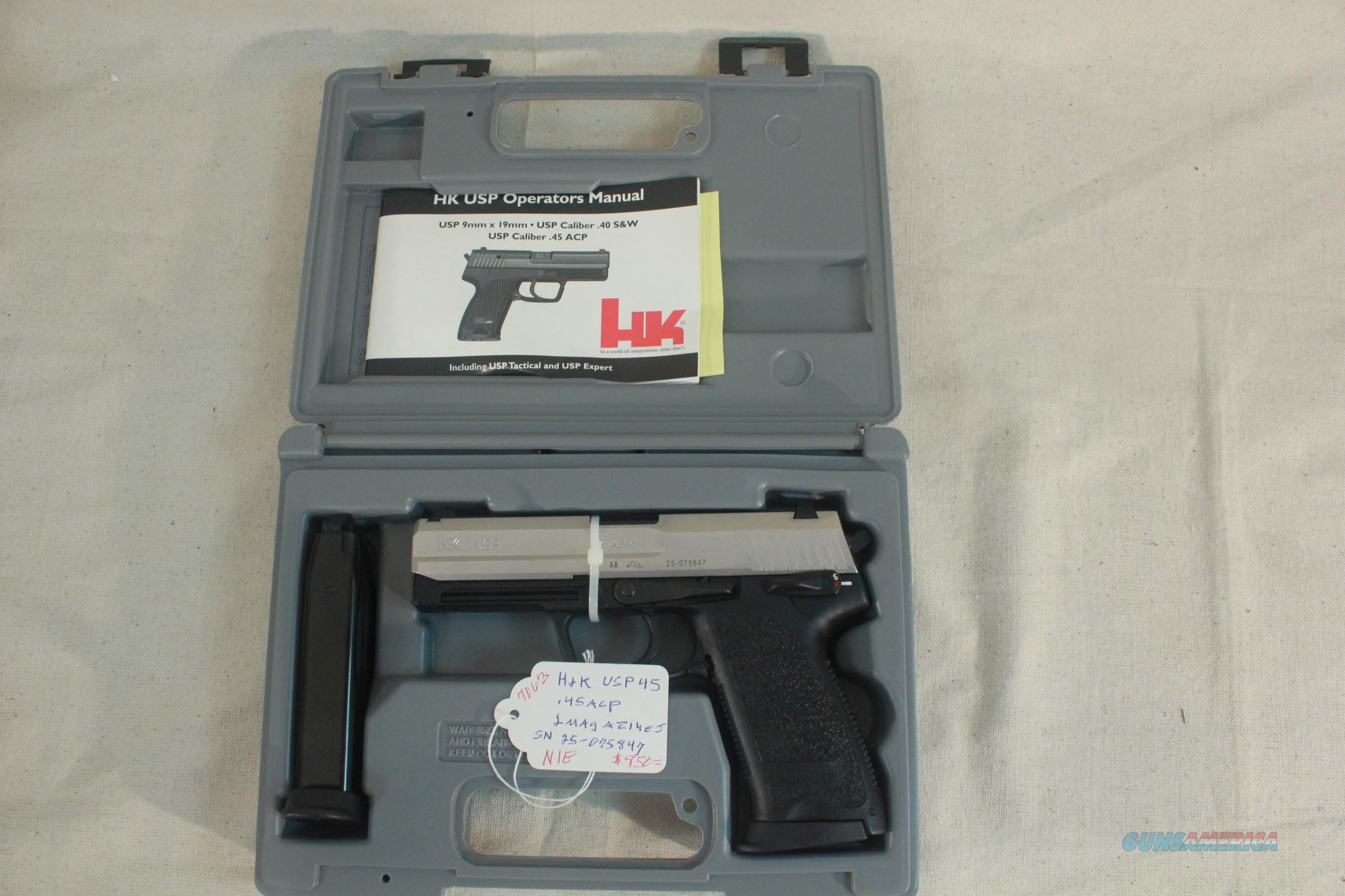 Heckler & Koch USP .45acp Two-Tone, Stainless Slide, 2-Magazines,  New in the Box with all papers  Guns > Pistols > Heckler & Koch Pistols > SteelFrame