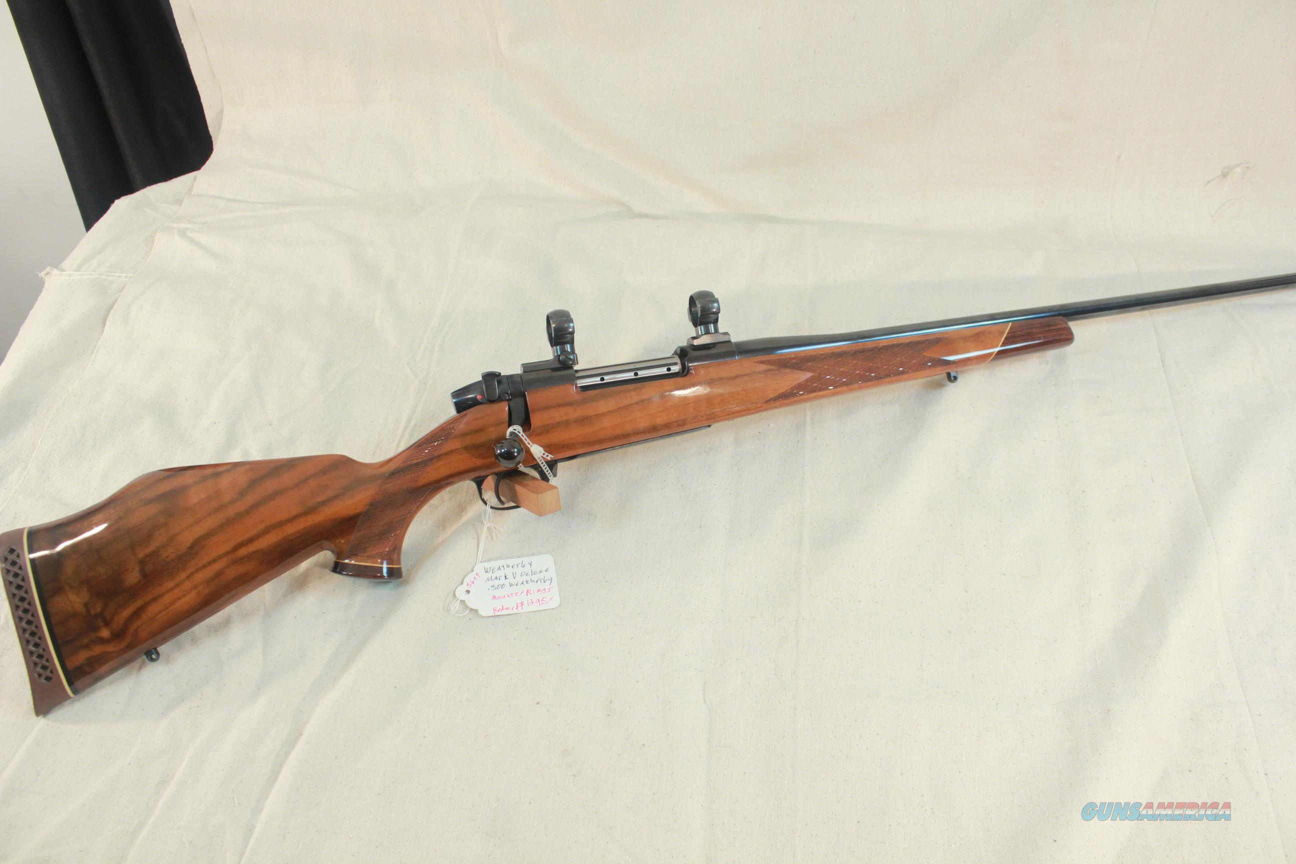 Weatherby Mark V Deluxe in .300 Weatherby Magnum, with mounts and rings.   Guns > Rifles > Weatherby Rifles > Sporting