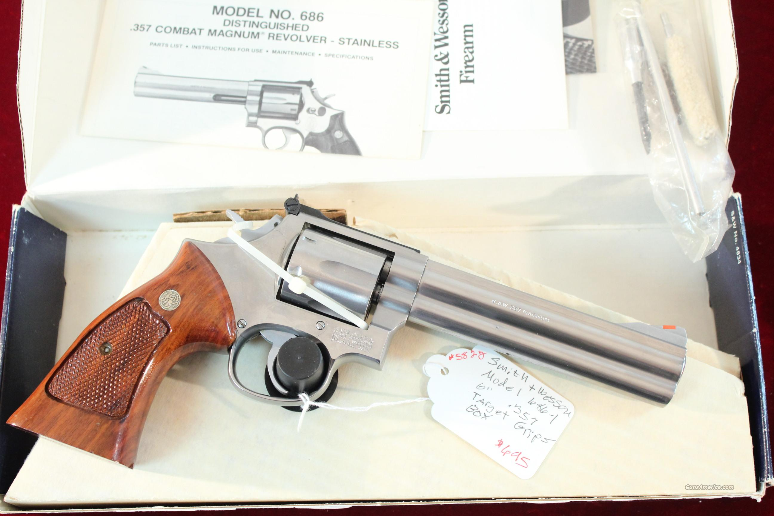 "Smith & Wesson S & W Model 686-1, 6"" Stainless with box  Guns > Pistols > Smith & Wesson Revolvers > Full Frame Revolver"