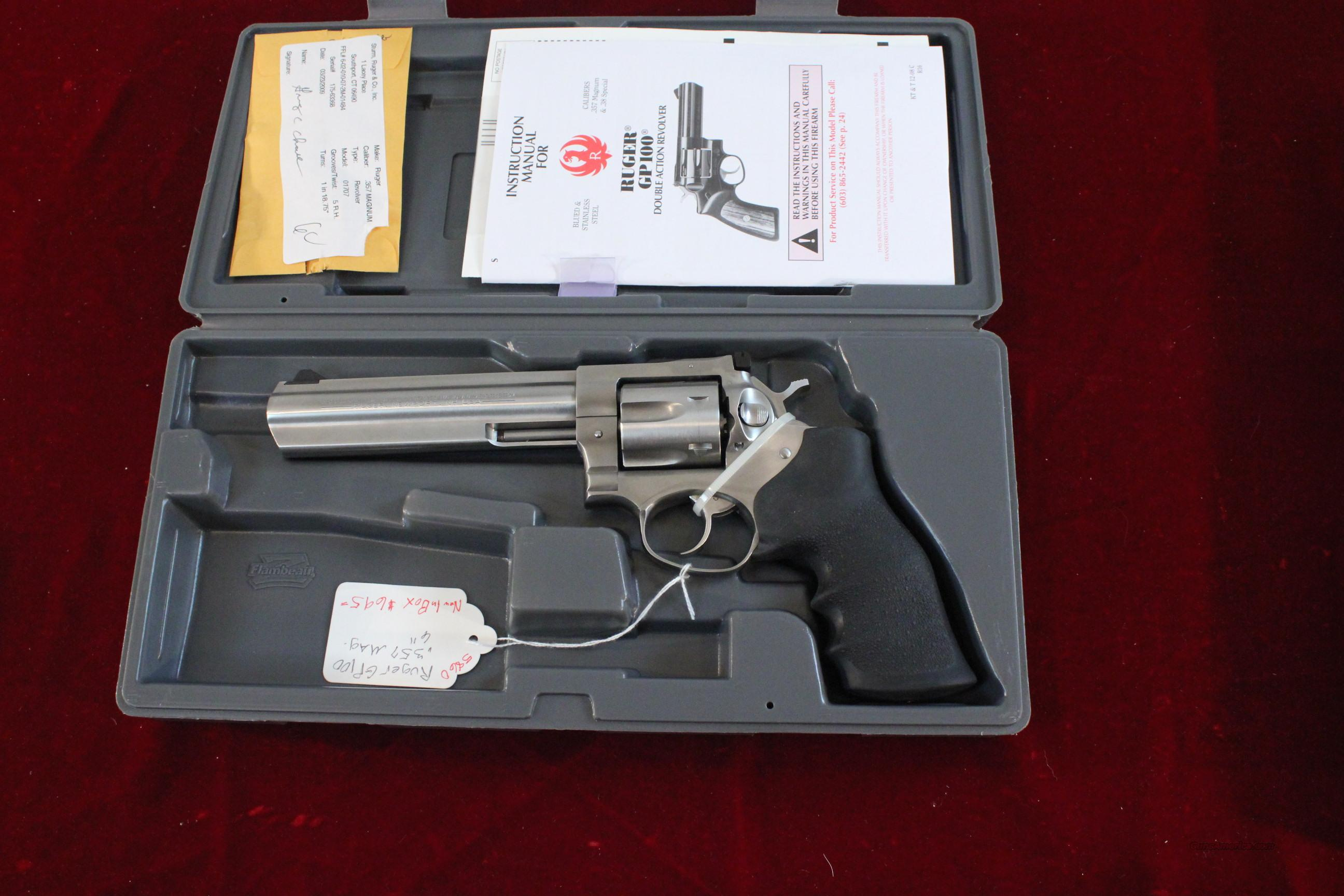"Ruger GP100 6"" .357 Stainless Steel Revolver  Guns > Pistols > Ruger Double Action Revolver > Security Six Type"