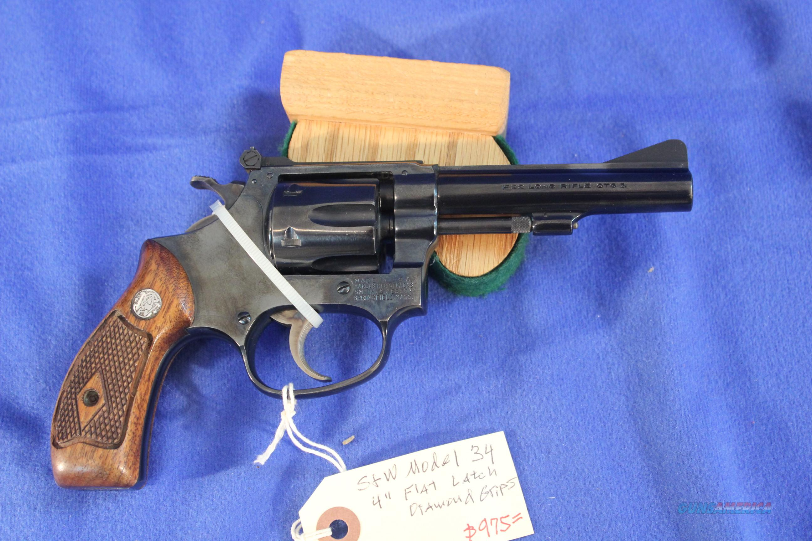 Smith & Wesson Model 34 .22lr early Flat Latch, Diamond Grips  Guns > Pistols > Smith & Wesson Revolvers > Pocket Pistols