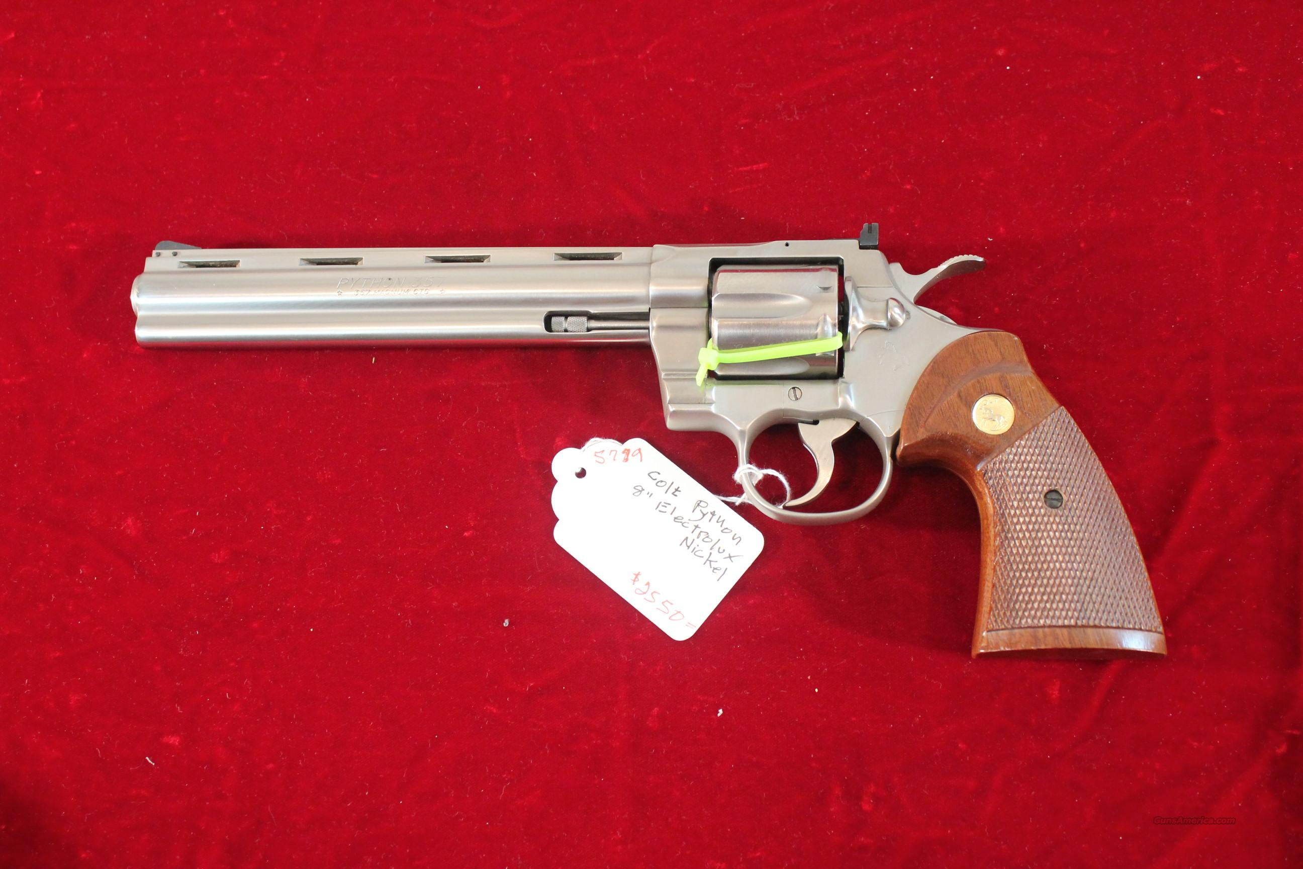 "Colt Python Electroless Nickel 8""  Guns > Pistols > Colt Double Action Revolvers- Modern"