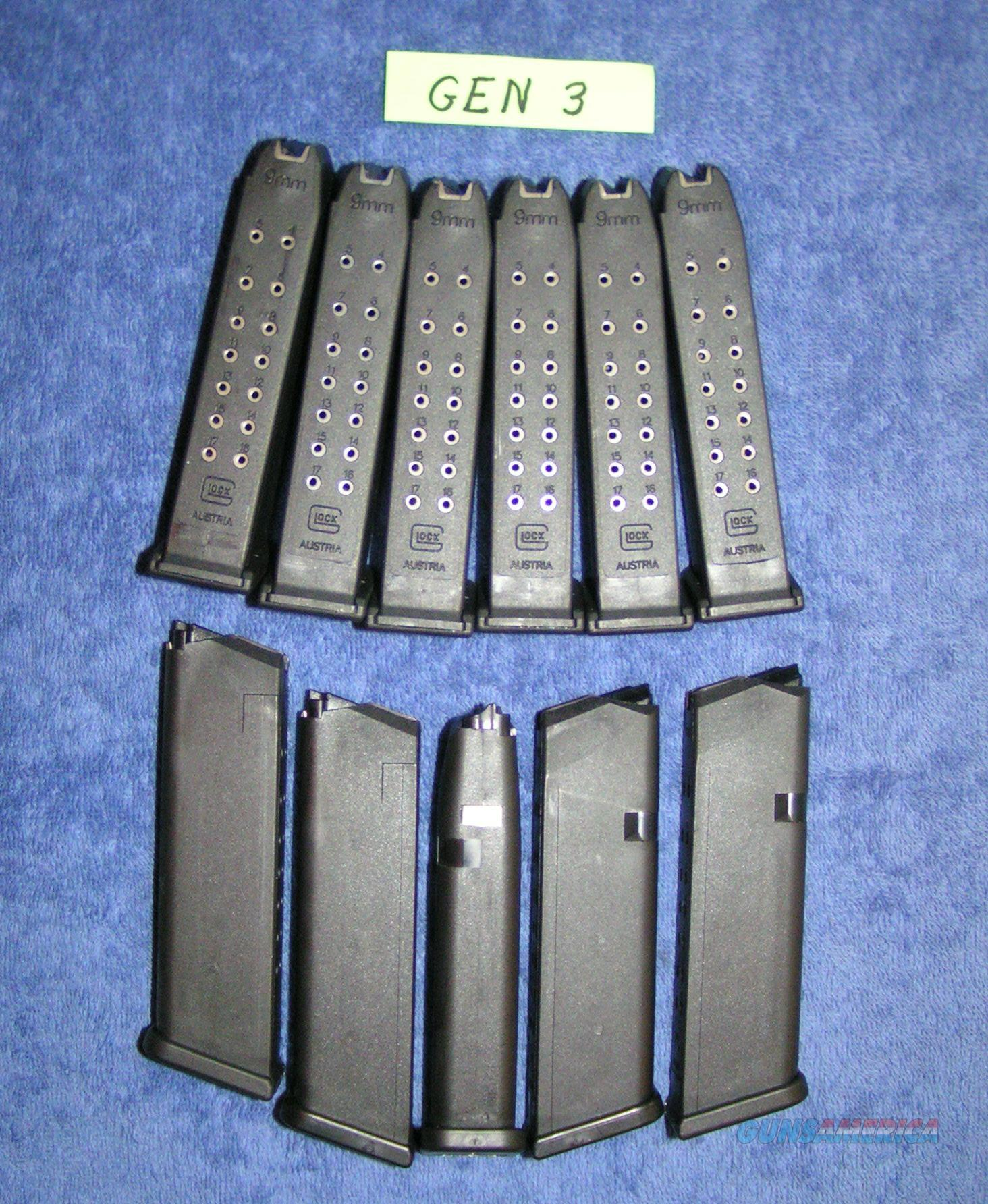 5 Glock 17 Gen 3 mags. factory Glock $25 each - Closeout  Non-Guns > Magazines & Clips