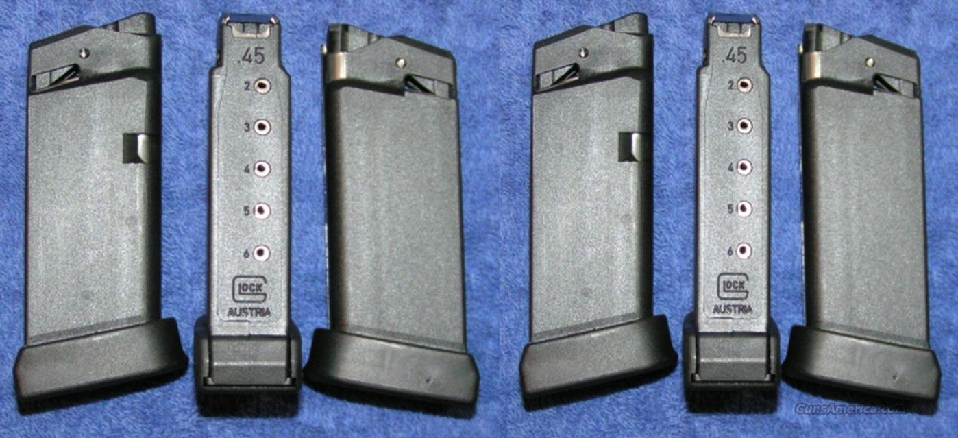6 Glock 36 mags 6 round 45ACP new factory $25 each  Non-Guns > Magazines & Clips