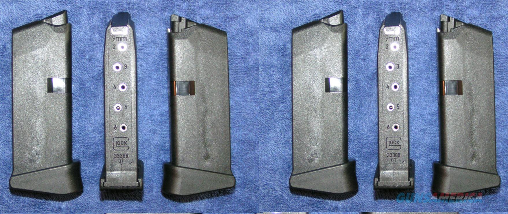 6 Glock 43 mags 9mm 6 rd w ext. factory new  Non-Guns > Magazines & Clips > Pistol Magazines > Glock