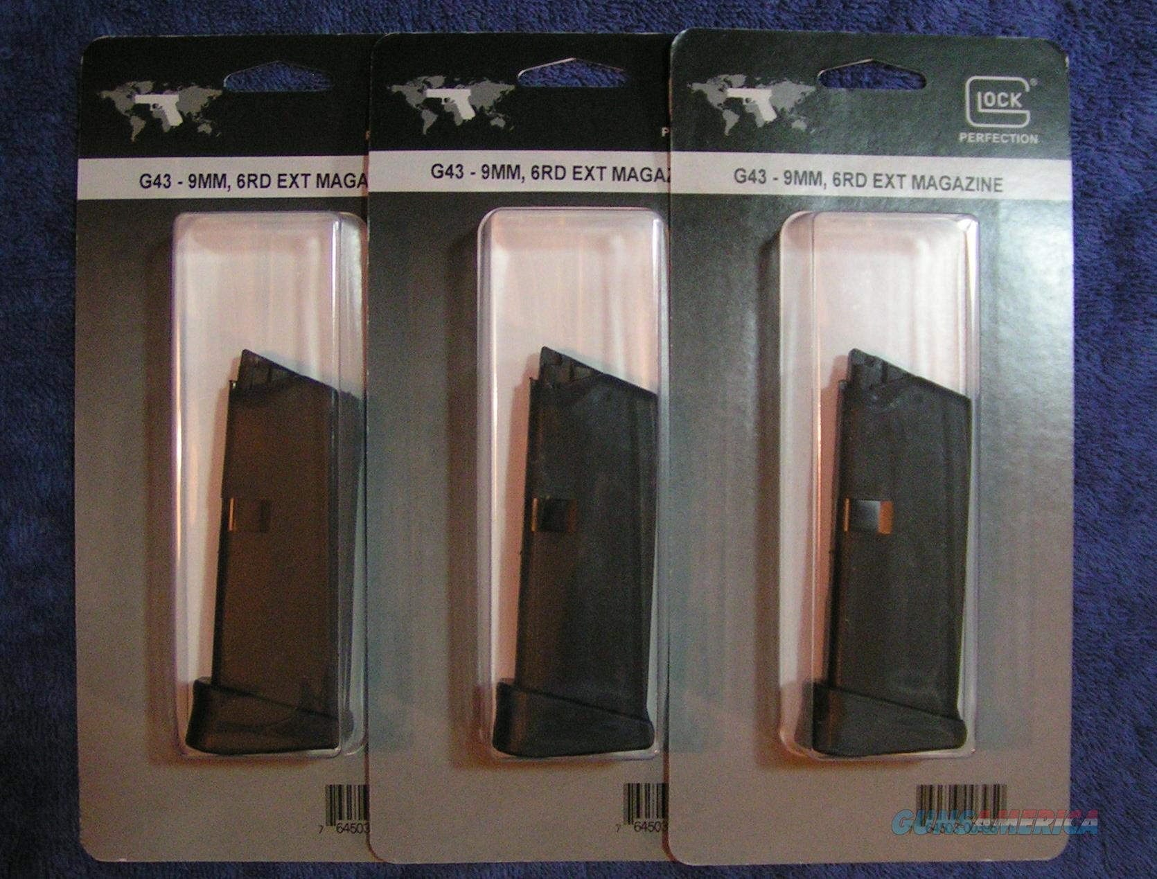 3 Glock 43 mags 9mm 6 rd w ext. factory $35 each  Non-Guns > Magazines & Clips > Pistol Magazines > Glock