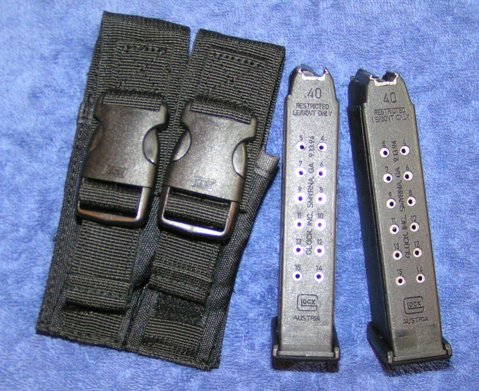 2 Glock 22 mags LE marked, with pouch NEW   Non-Guns > Magazines & Clips > Pistol Magazines > Glock