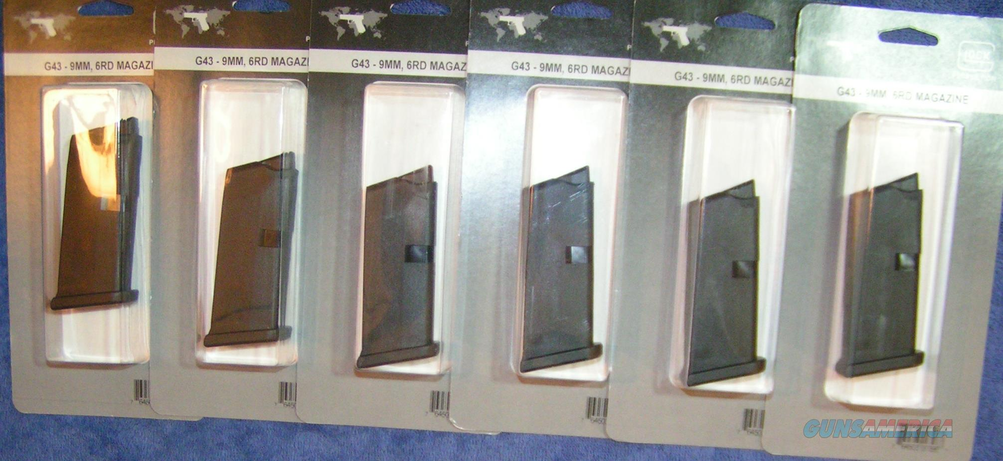 6 Glock 43 mags 9mm 6 round factory $25 each    Non-Guns > Magazines & Clips > Pistol Magazines > Glock