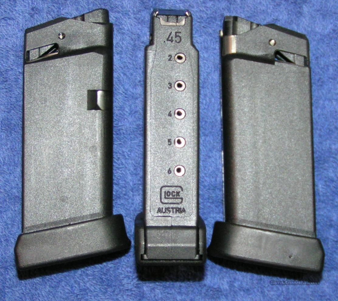 3 Glock 36 mag 6 round 45ACP factory new $25 each  Non-Guns > Magazines & Clips
