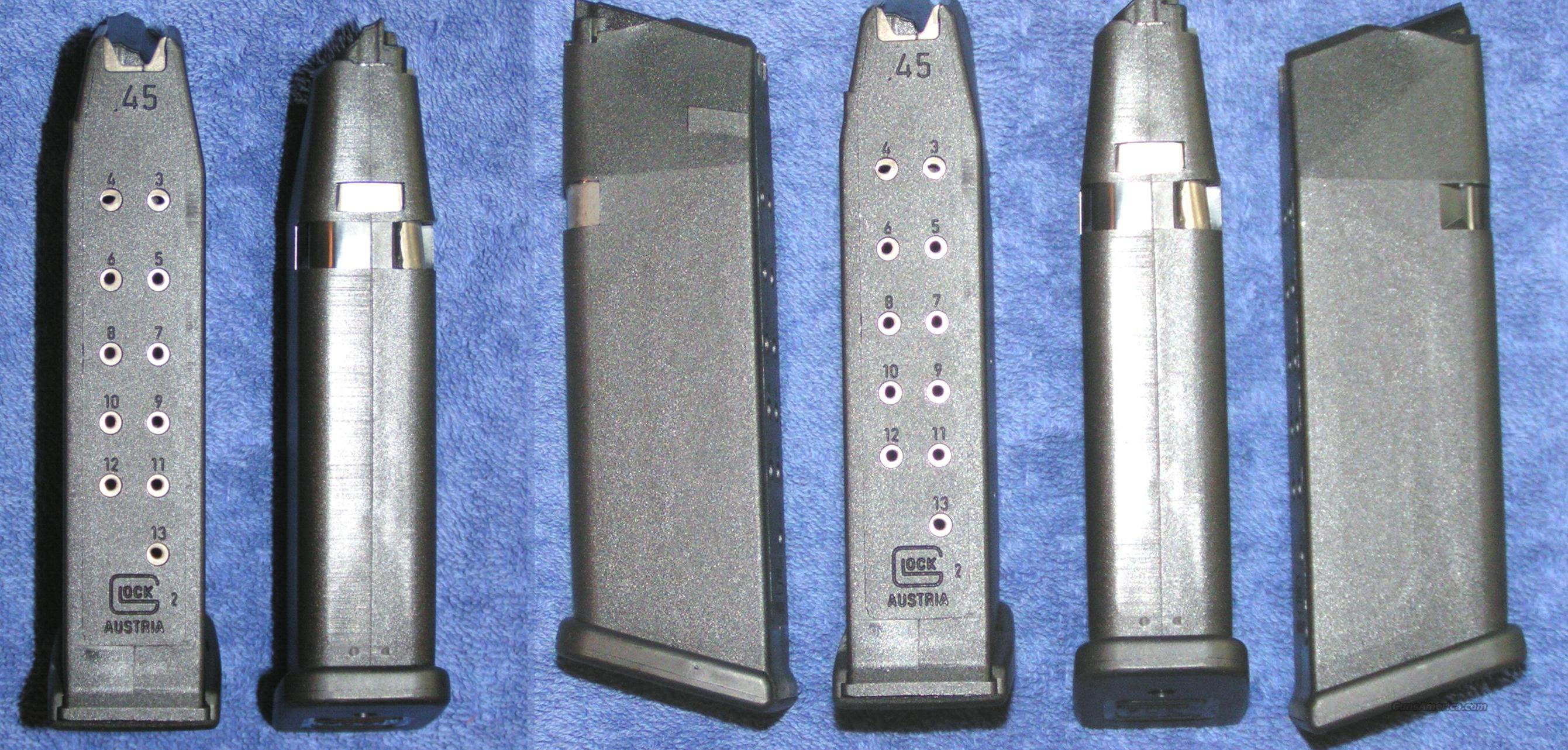 6 Glock 21 mags factory 45ACP 13 round G4 $27 ea   Non-Guns > Magazines & Clips > Pistol Magazines > Glock