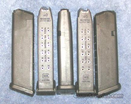 2 Glock 22 mags. 40S&W 15 round  * LE marked * factory Glock  Non-Guns > Magazines & Clips