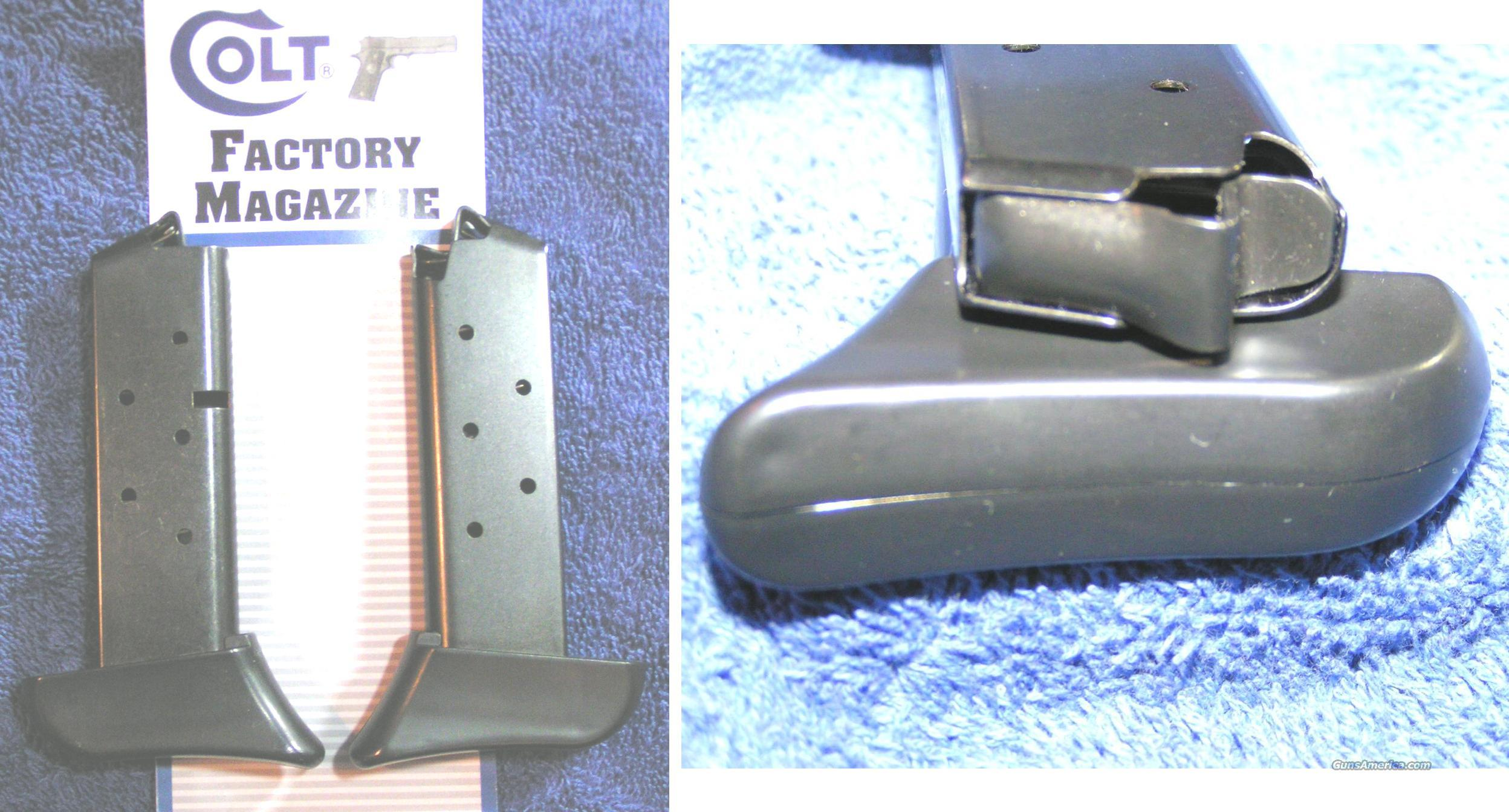 2 Colt Mustang mags. Blue 7 round with Finger rest pad $29 each  Non-Guns > Magazines & Clips > Pistol Magazines > Other