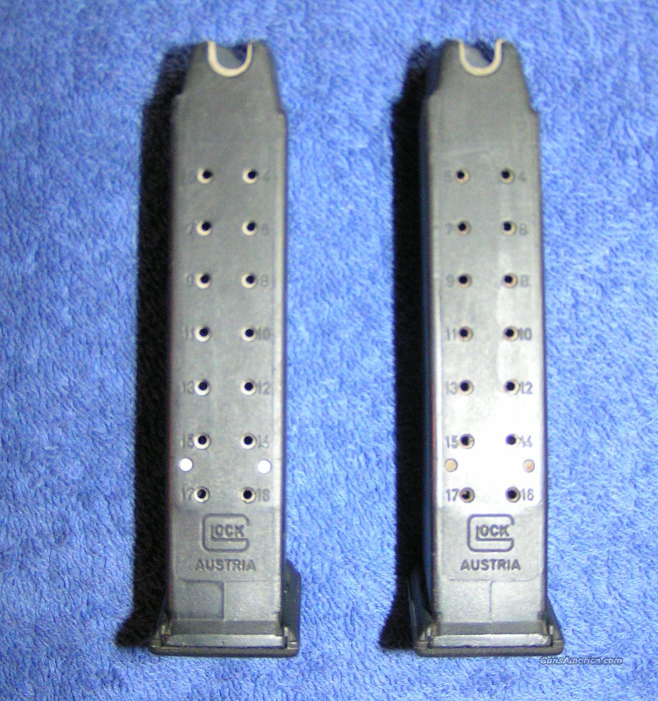 2 preban Glock 17 mags. factory 9mm 17 round Gen 1 NDF $80 ea   Non-Guns > Magazines & Clips > Pistol Magazines > Glock
