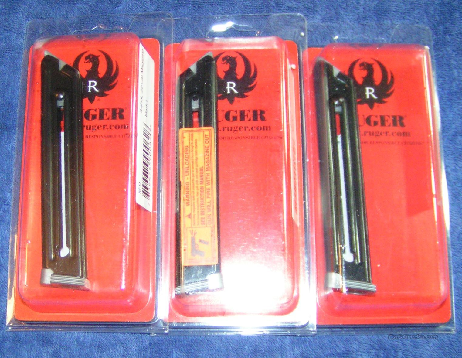 3 Ruger Mark I mags - factory Ruger 22LR $27 each     Non-Guns > Magazines & Clips > Pistol Magazines > Other