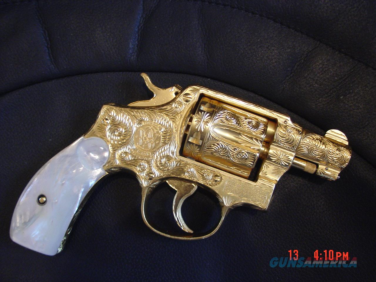 "Smith & Wesson Pre model 10,2"",38SPL,24K gold plated,fully engraved by Flannery Engraving,REAL Pearl grips, late 40's to early 50's, a 1 of a kind masterpiece !!  Guns > Pistols > Smith & Wesson Revolvers > Model 10"