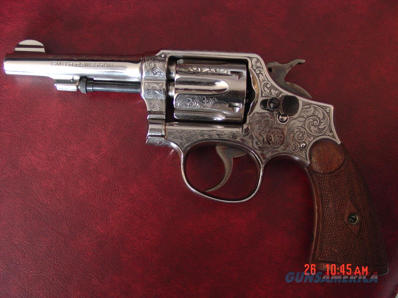"Smith & Wesson Pre Model 10,32-20,master engraved & signed by A.LoPrinzi,refinished nickel,4"",awesome work of art !!  Guns > Pistols > Smith & Wesson Revolvers > Model 10"