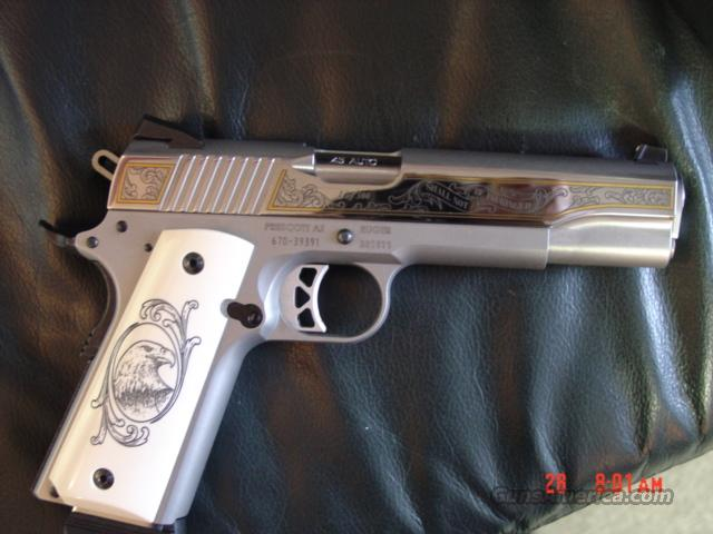 Ruger SR1911,1 of 300 limited edition,polished stainless,engraved,gold outline,custom grips,45ACP,also walnut grips,2 mags,Ruger zippered vcase etc.  Guns > Pistols > Ruger Semi-Auto Pistols > SR9 & SR40