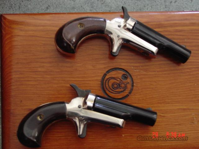 Colt Derringer #4 matched pair,consecutive serial #s,nickel & blue,in Colt wood case,22 short,1966  Guns > Pistols > Derringer Modern