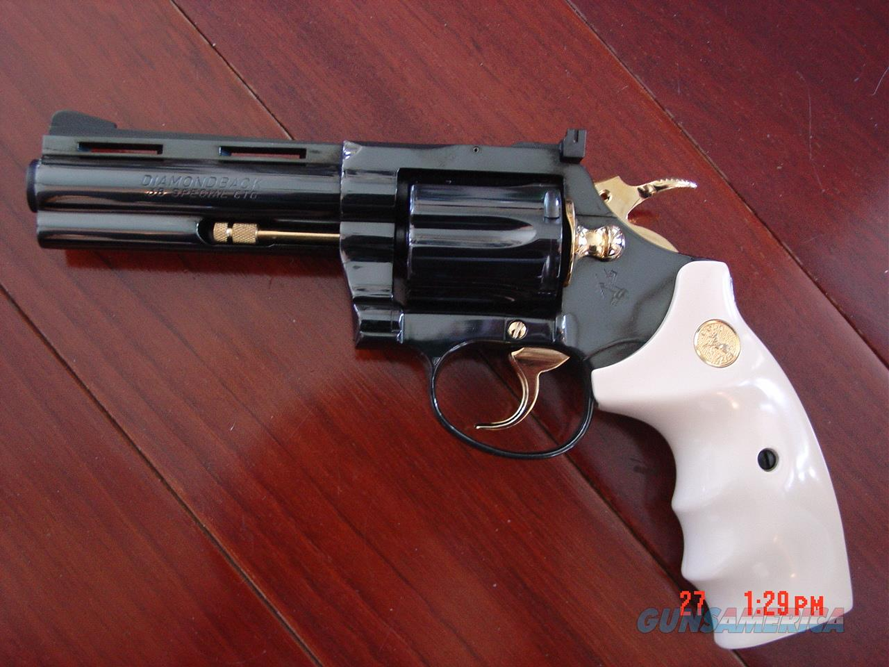 "Colt Diamondback 4"" fully refinished in bright blue with 24k gold accents,& custom bonded ivory grips,made in 1968 !! a true showpiece-38 special  Guns > Pistols > Colt Double Action Revolvers- Modern"