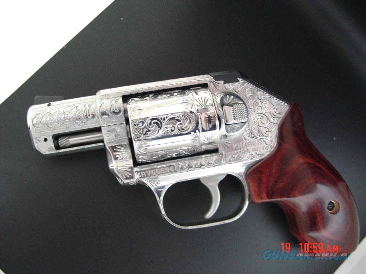 Kimber K6S 357 magnum,fully engraved & polished by Flannery Engraving,6 shots,Rosewood grips,in box with manual etc.awesome work of art !!  Guns > Pistols > Kimber of America Pistols > Revolvers