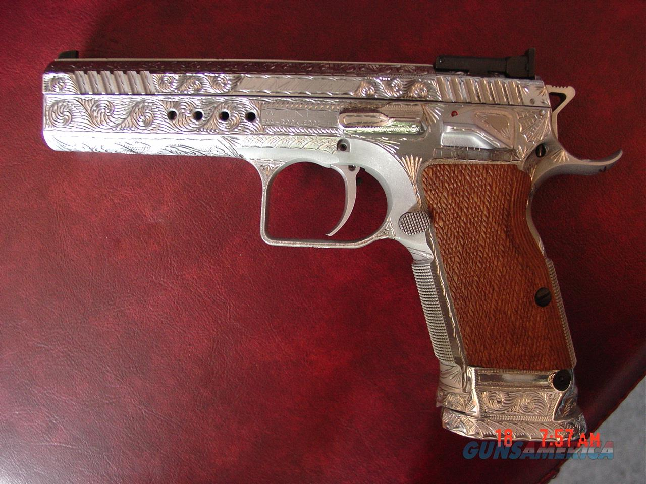 EAA Witness T97 Limited 45acp,fully deep hand engraved & polished by Flannery Engraving, made by Tanfoglio in Italy, suede fitted case etc a 1 of a kind masterpiece- way nicer in person.  Guns > Pistols > EAA Pistols > Other