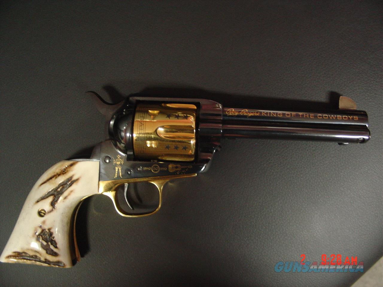 Colt SAA styled Uberti Roy Rogers Commemorative,45LC,real stag grips,24k Gold cylinder etc,made 1990.#504 of 2500 great looking gun !!  Guns > Pistols > Colt Commemorative Pistols