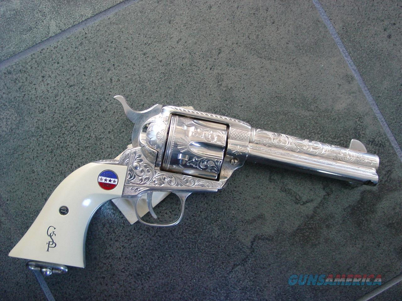 General Patton Commemorative SAA revolver,45Colt,silver plated,fully engraved,from The American Historical Foundation,made by Uberti ,1987,never fired or turned,certificate,letters,gloves,original packing box & other papers,hang tags etc.-  Guns > Pistols > Custom Pistols > Cowboy Action