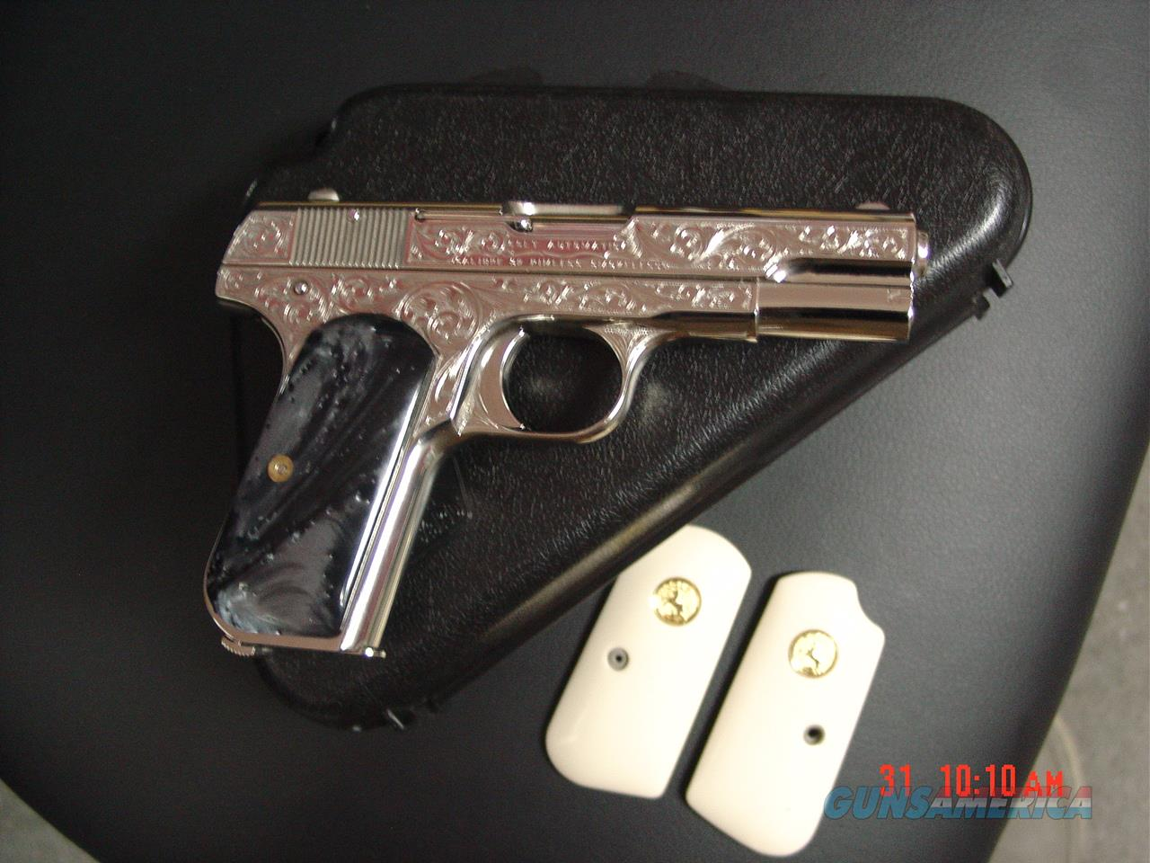 Colt 1903 hammerless,32cal,1918,master engraved by S.Leis & refinished in bright nickel,black Pearlite & bonded ivory grips, awesome work of art with certificate.  Guns > Pistols > Colt Automatic Pistols (.25, .32, & .380 cal)