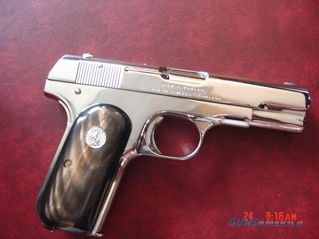 Colt 1903-real Ox Horn grips,32 ACP,fully refinished in bright nickel,made circa 1918,99 years old,a real showpiece,hammerless with grip safety-awesome !!  Guns > Pistols > Colt Automatic Pistols (.25, .32, & .380 cal)