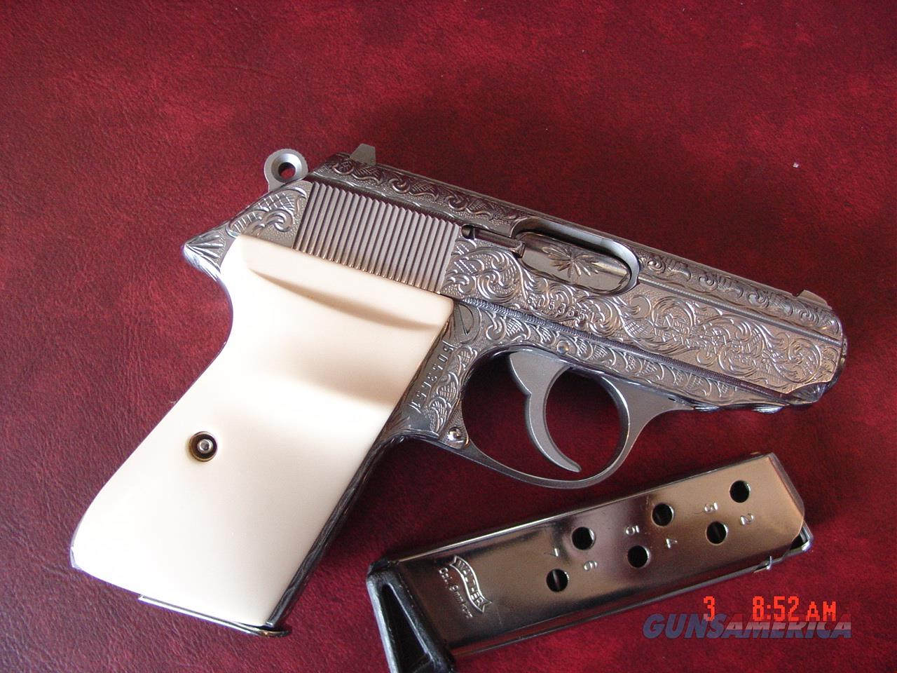 Walther PPK/S 380,Interarms,fully deep hand engraved & polished by Flannery Engraving,Bonded Ivory grips,box,2 mags,certificate,target etc.a true masterpiece- awesome !!  Guns > Pistols > Walther Pistols > Post WWII > PPK Series
