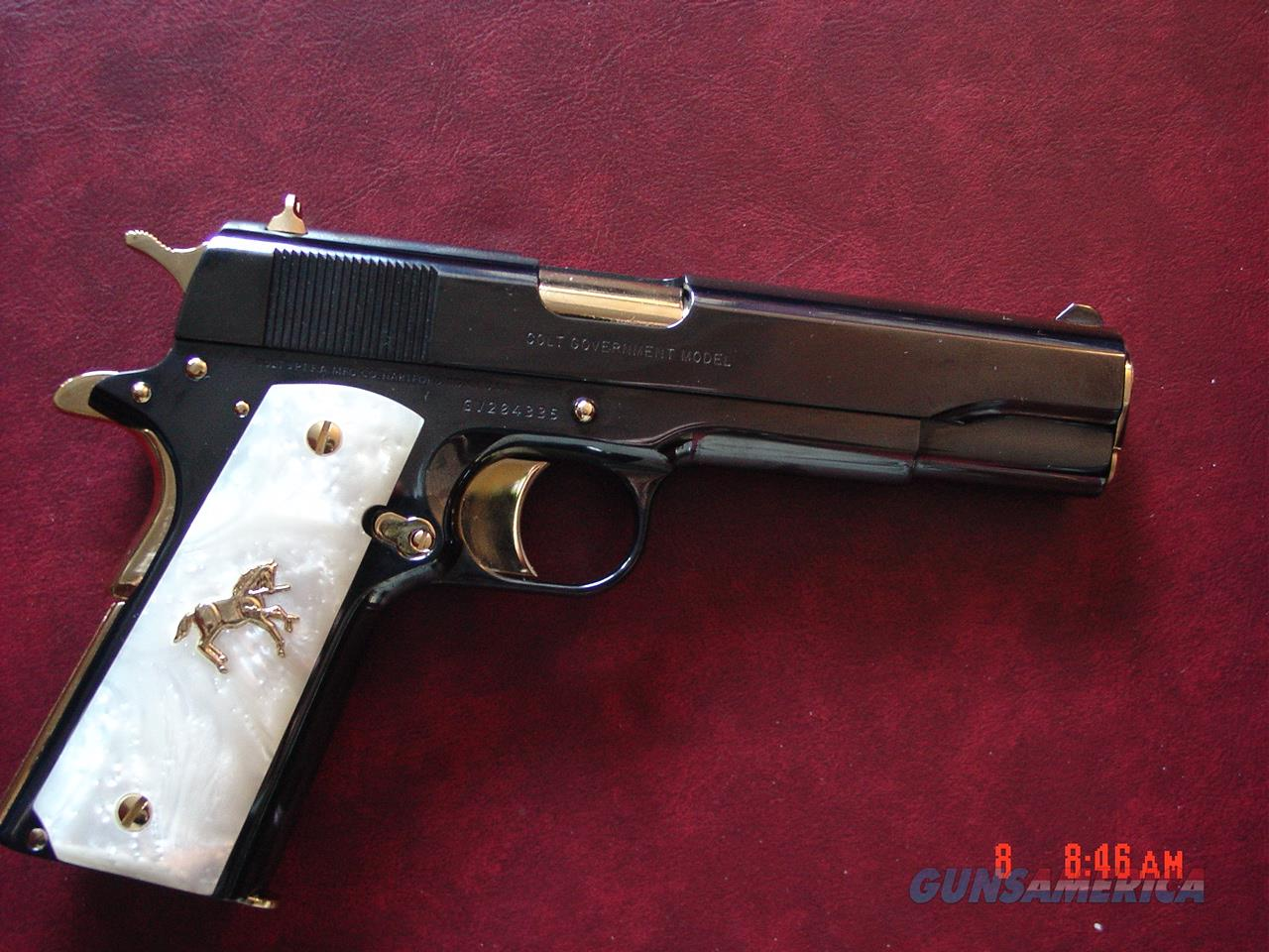 "Colt Government 1911,just refinished in presentation grade blue with 24K gold accents,2 mags,45acp,5"" box,manual etc.,& never fired.a true work of art !!  Guns > Pistols > Colt Automatic Pistols (1911 & Var)"