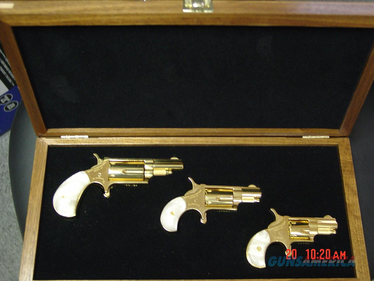 North American Arms-rare Golden Eagle 3 gun set,24K plated,in fitted case,pearlite grips,22S,22LR,22Mag,matching serial #s,much nicer in person- never seen one before !!  Guns > Pistols > North American Arms Pistols