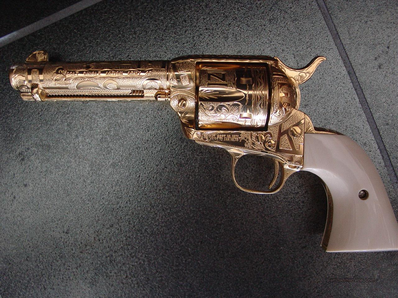 "Colt SAA,Jeff Flannery Cattlebrand master engraved,real ivory grips,24K gold plated,45LC,4 3/4""-3rd Gen. work of art-rare showpiece !!  Guns > Pistols > Colt Single Action Revolvers - 3rd Gen."