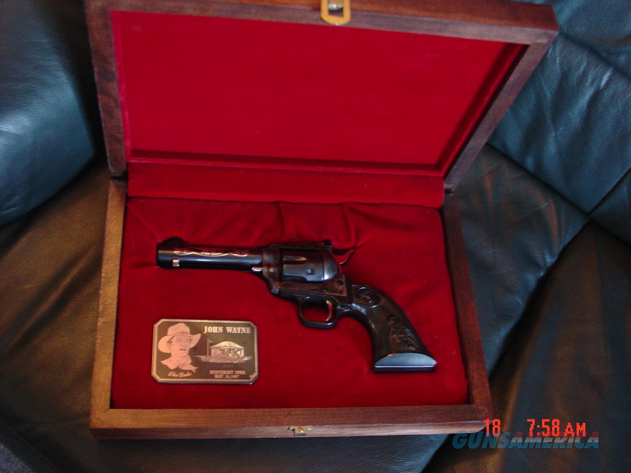 Colt John Wayne The Duke 22LR,New Frontier,sterling silver inlays & sterling plate in fitted wood case-never fired-as new !!  Guns > Pistols > Colt Commemorative Pistols