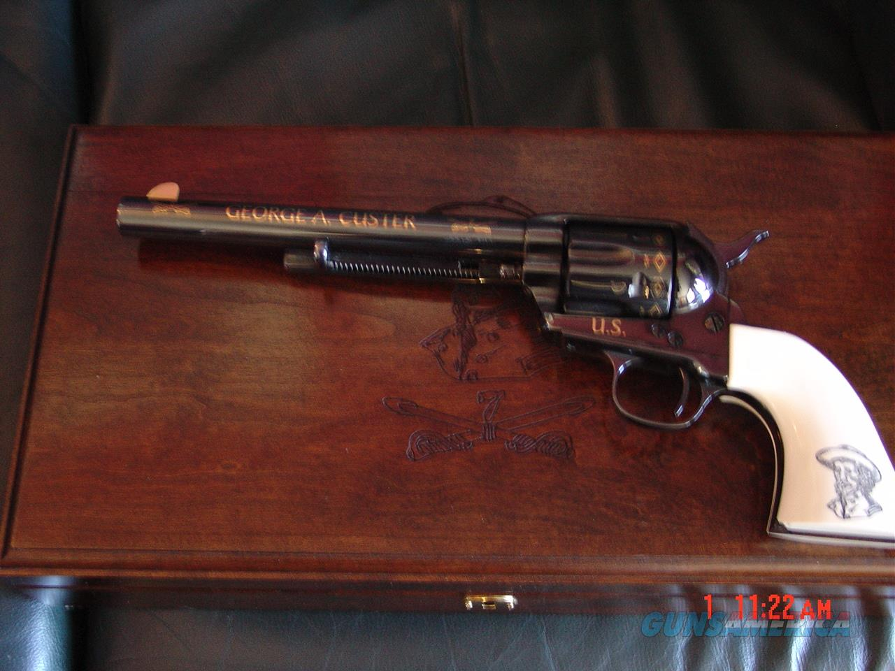 """Uberti SAA 7 1/2"""" 45 Colt, George Custer 7th Cavalry tribute,gold engraved,#148 of 500,fitted case,belt buckle,never fired, awesome showpiece  Guns > Pistols > Collectible Revolvers"""