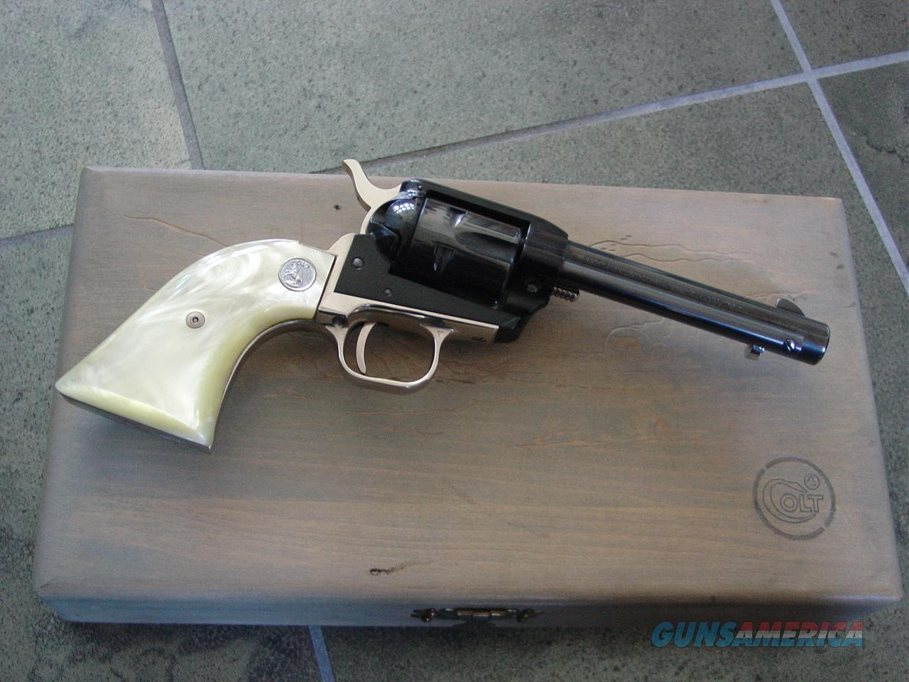 """Colt Frontier Scout Nevada Statehood Centennial Comemmorative,22LR,4 3/4"""" barrel,made in 1964,nickel plated & blued,1864-1964 stamped,nice Pearlite grips,wood presentation case & unfired !! a beauty !!  Guns > Pistols > Colt Commemorative Pistols"""