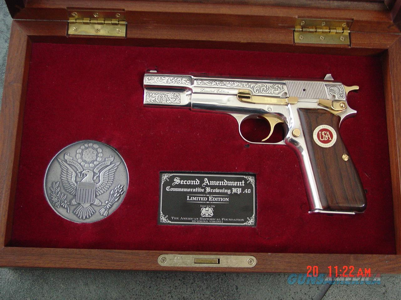 Browning Hi Power 40 S&W,engraved,nickel,2nd Amendment  Commemorative,gold accents,fitted pres.case,awesome & nicer in person      Guns > Pistols > Browning Pistols > Hi Power