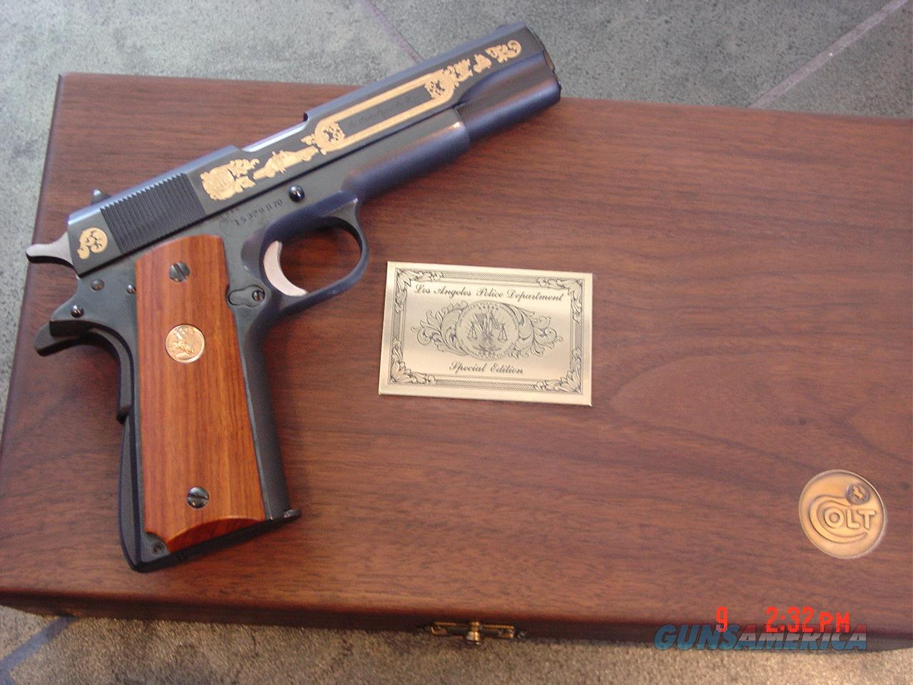 Colt 1911 Series 70 45acp,LAPD Special Edition,gold engraved on blue,rich custom wood grips,in fitted wood case,& brass LAPD plate on top,looks unfired--awesome  Guns > Pistols > Colt Commemorative Pistols